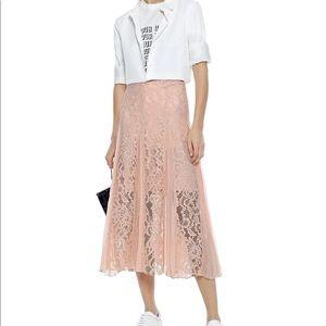 Sandro Polina pleated crepe de chine lace skirt
